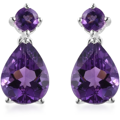 Amethyst Dangle Earrings in Platinum over Sterling Silver Gemstone Collectors U.S.