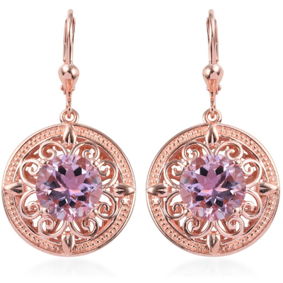Amethyst Earrings in Rose Gold Over Sterling Silver Gemstone Collectors U.S.