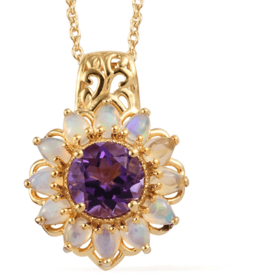 "Amethyst & Ethiopian Opal Pendant Necklace 20"" in Yellow Gold over Sterling Silver Gemstone Collectors U.S."