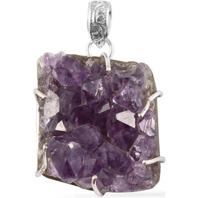 Amethyst Geode Pendant In Platinum over Sterling Silver Gemstone Collectors U.S.