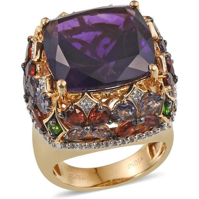Amethyst & Multi Gemstone Cocktail Ring in Vermeil 14K Yellow Gold over Sterling Silver Gemstone Collectors U.S.