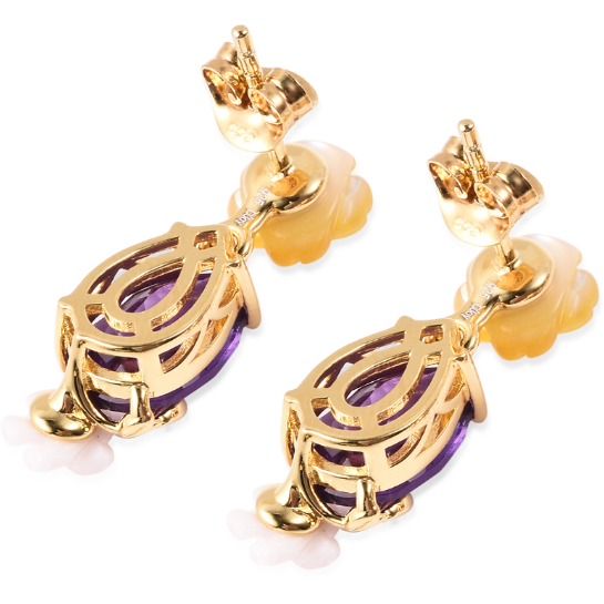 Amethyst & Multi Gemstone Floral Drop Earrings in Yellow Gold over Sterling Silver Gemstone Collectors U.S.