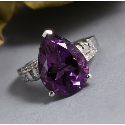 Amethyst Pear & Zircon Ring in Platinum over Sterling Silver Gemstone Collectors U.S.