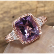 Amethyst & White Topaz Ring in Rose Gold over Sterling Silver Gemstone Collectors U.S.