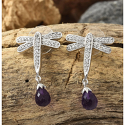 Amethyst & White Zircon Earrings in Platinum over Sterling Silver Gemstone Collectors U.S.