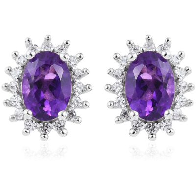 Amethyst & White Zircon Stud Earrings in Platinum over Sterling Silver Gemstone Collectors U.S.