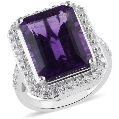Amethyst & Zircon Halo Ring in Platinum over Sterling Silver Gemstone Collectors U.S.