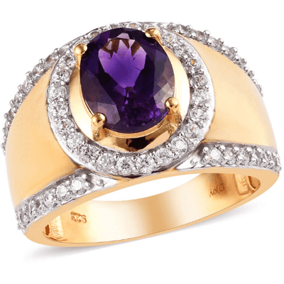 Amethyst & Zircon Men's Ring in Yellow Gold over Sterling Silver Gemstone Collectors US