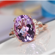 Amethyst & Zircon Ring in Rose Gold over Sterling Silver Gemstone Collectors U.S.