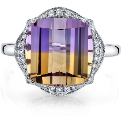 Ametrine & Diamond 14k White Gold Ring Gemstone Collectors U.S.
