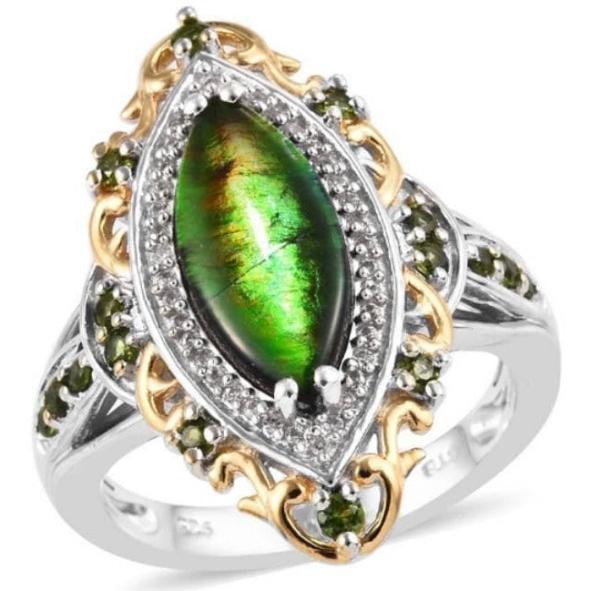 Ammolite & Chrome Diopside Ring in Yellow Gold & Platinum over Sterling Silver Gemstone Collectors US