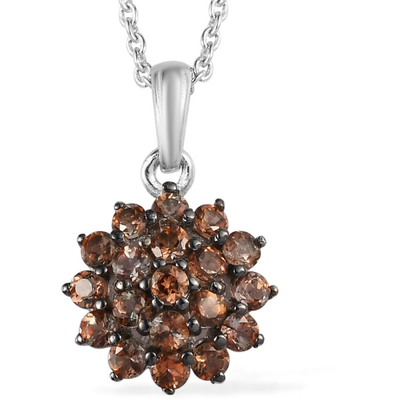 Andalusite Cluster Necklace in Platinum over Sterling Silver Gemstone Collectors U.S.