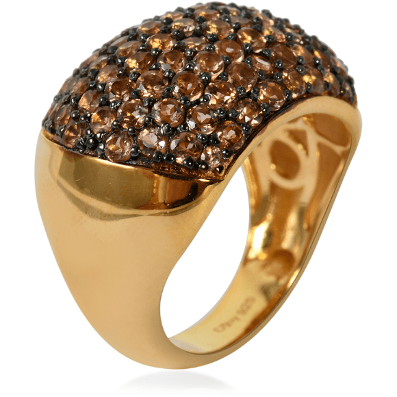 Andalusite Dome Cluster Ring in Yellow Gold over Sterling Silver 7.92g Gemstone Collectors U.S.