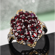 Anthill Garnet & White Zircon Ring in Platinum & Yellow Gold over Sterling Silver Gemstone Collectors U.S.