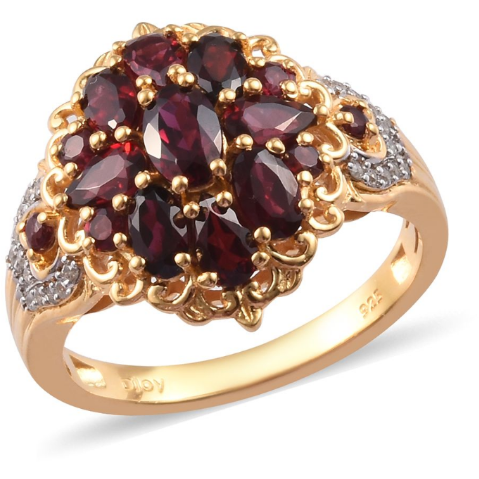 Anthill Garnet & Zircon Cluster Ring in Yellow Gold over Sterling Silver Gemstone Collectors U.S.