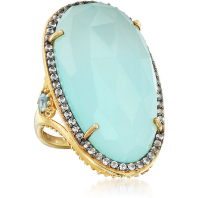 Aqua Chalcedony, Blue & White Topaz Ring in 18k Yellow Gold over Sterling Silver Gemstone Collectors U.S.