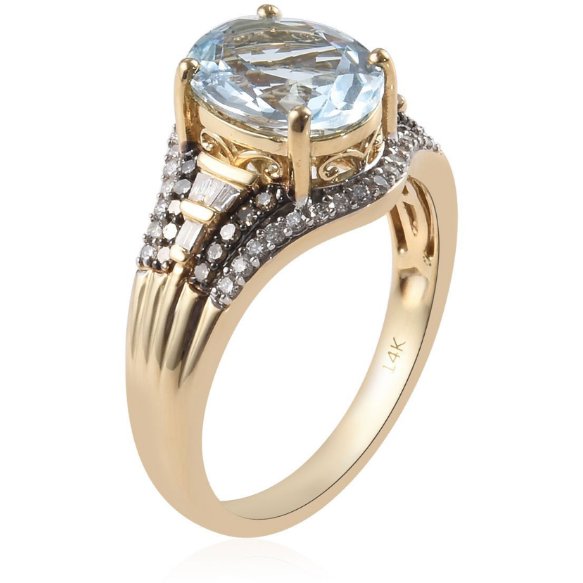 Aquamarine, Champagne & White Diamond Ring in 14K Yellow Gold Gemstone Collectors U.S.