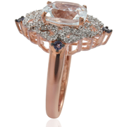 Aquamarine, Iolite & White Zircon Ring in Rose Gold over Sterling Silver Gemstone Collectors U.S.