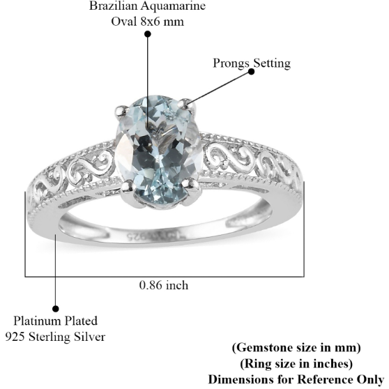Aquamarine Oval Solitaire Ring in Platinum over Sterling Silver Gemstone Collectors U.S.