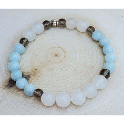 Aquamarine, Rose Quartz and Smokey Quartz Bracelet Mindful Creations by Gloria