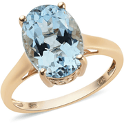 Aquamarine Solitaire Ring in 14K Yellow Gold 5.40ctw Gemstone Collectors U.S.