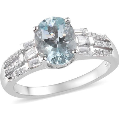 Aquamarine & White Zircon Ring in Platinum over Sterling Silver Gemstone Collectors U.S.
