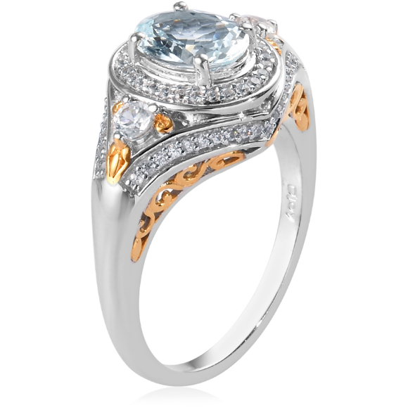 Aquamarine & Zircon Ring in Platinum and Yellow Gold over Sterling Silver Gemstone Collectors U.S.