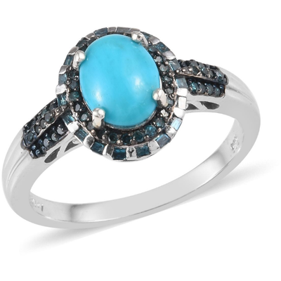 Arizona Sleeping Beauty Turquoise & Blue Diamond Ring in Platinum over Sterling Silver Gemstone Collectors U.S.