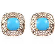 Arizona Sleeping Beauty Turquoise Earrings in 10K Yellow Gold Gemstone Collectors U.S.