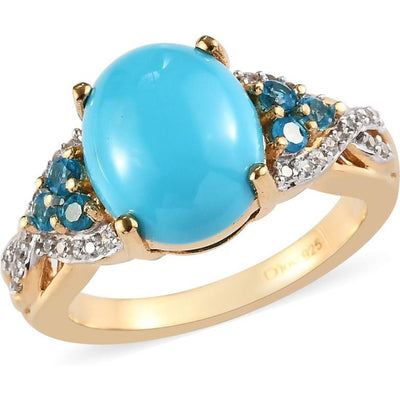 Arizona Sleeping Beauty Turquoise, Neon Apatite & White Zircon Ring in 14K Yellow Gold over Sterling Silver Gemstone Collectors U.S.