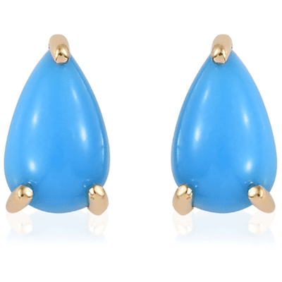Arizona Sleeping Beauty Turquoise Pear Stud Earrings in solid 14K Yellow Gold 1.57ctw. Gemstone Collectors US
