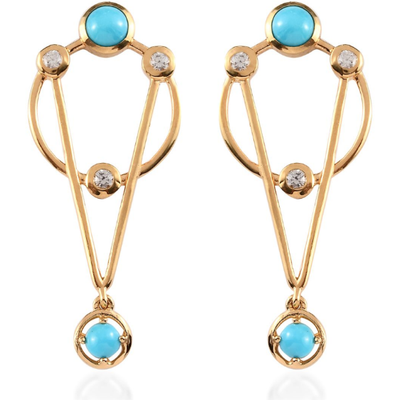Arizona Sleeping Beauty Turquoise & White Zircon Dangle Earrings in Yellow Gold over Sterling Silver Gemstone Collectors U.S.