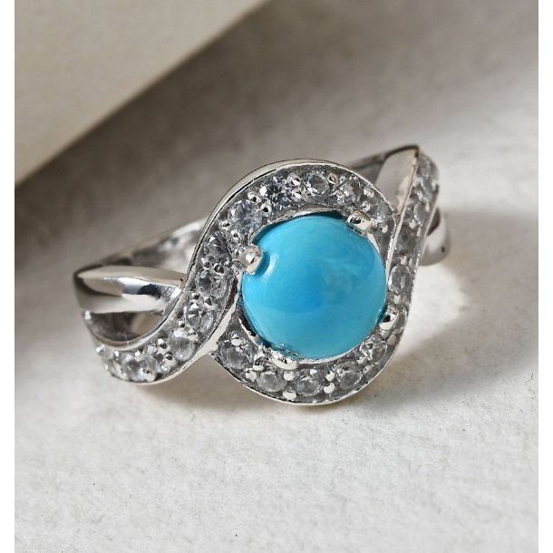 Arizona Sleeping Beauty Turquoise & White Zircon Ring in Platinum over Sterling Silver Gemstone Collectors U.S.