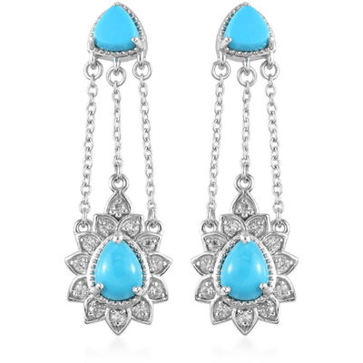 Arizona Sleeping Beauty Turquoise & Zircon Earrings in Platinum over Sterling Silver Gemstone Collectors U.S.