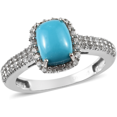 Arizona Sleeping Beauty Turquoise & Zircon Ring in Platinum over Sterling Silver Gemstone Collectors U.S.