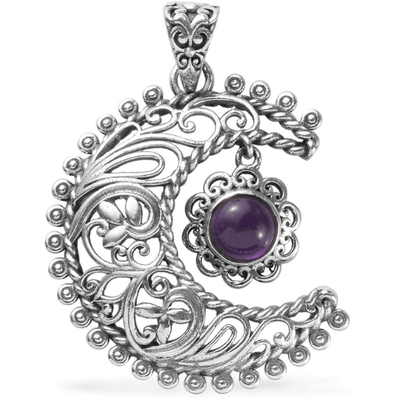 Artisan Crafted Amethyst Sun & Moon Pendant in Sterling Silver Gemstone Collectors U.S.