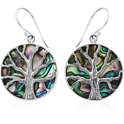 Artisan Crafted Mother of Pearl Tree of Life Earrings in Platinum over Sterling Silver Gemstone Collectors U.S.