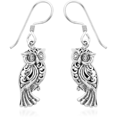 Artisan Crafted Owl Dangle Earrings in Platinum over Sterling Silver Gemstone Collectors U.S.