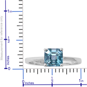 Asscher Cut Blue Zircon Solitaire Ring in 10K White Gold Gemstone Collectors U.S.