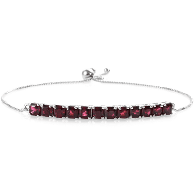 Asscher Cut Rhodolite Garnet Bolo Bracelet in Platinum over 925 Sterling Silver 5.19ctw Gemstone Collectors US