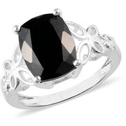 Australian Black Tourmaline Ring in Platinum over Sterling Silver Gemstone Collectors U.S.