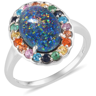 Australian Boulder Opal Triplet Multi Gemstone Halo Ring in Platinum over Sterling Silver Gemstone Collectors U.S.