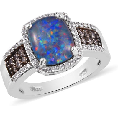 Australian Boulder Opal & Zircon Ring in Platinum over Sterling Silver Gemstone Collectors U.S.