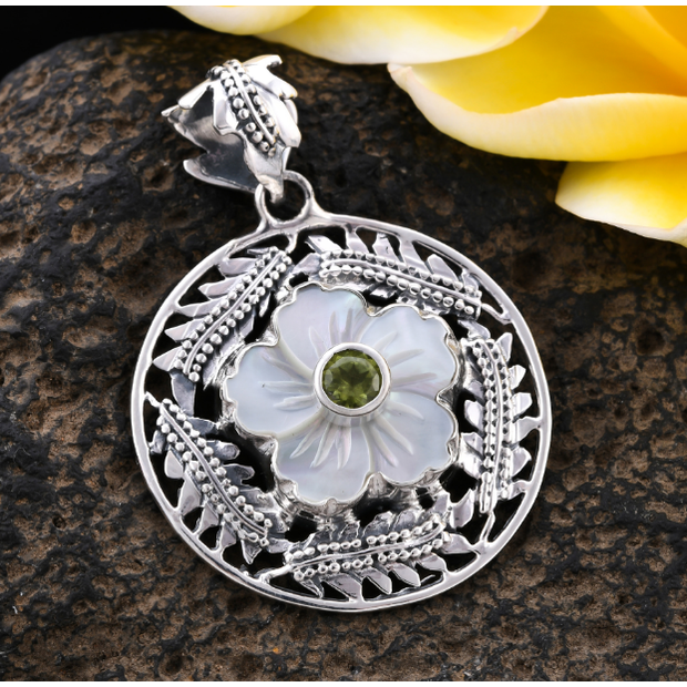Bali inspired Peridot & Mother of Pearl Pendant in Platinum over Sterling Silver Gemstone Collectors U.S.