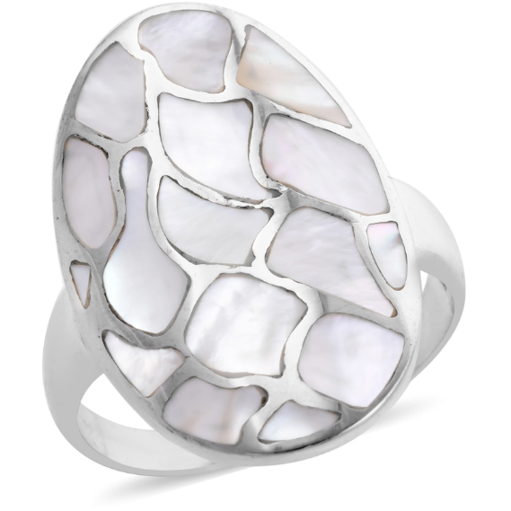 Bali Made Mother of Pearl Ring in Platinum over Sterling Silver Gemstone Collectors U.S.