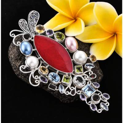 Bali Sponge Coral & Multi Gemstone Pendant in Sterling Silver Gemstone Collectors U.S.