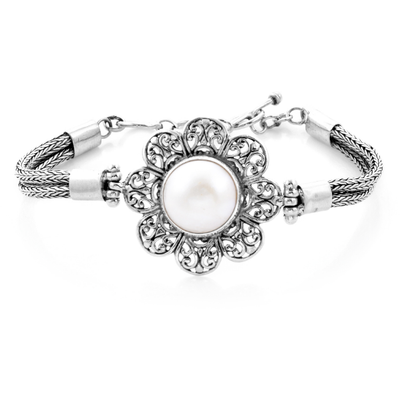 Bali White Mabe Pearl Flower Bracelet in Sterling Silver Gemstone Collectors U.S.