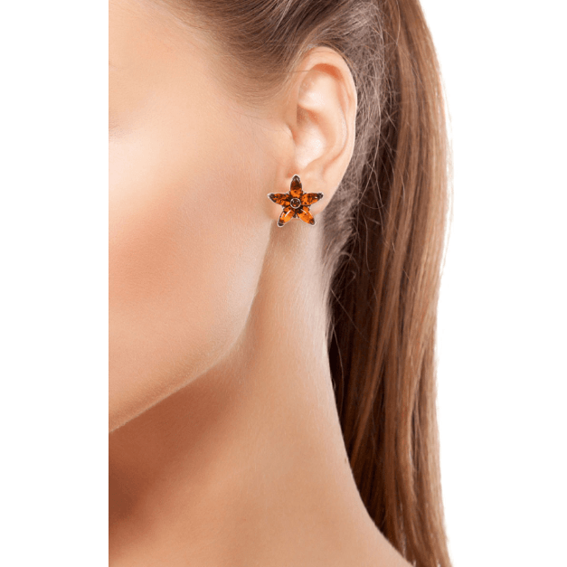 Baltic Amber Star Stud Earrings in Sterling Silver Gemstone Collectors U.S.