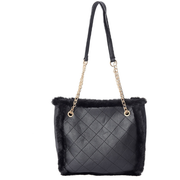 "Black Checker Quilted Pattern Faux Fur & Faux Leather Tote Bag 12.6"" x 9.84"" x 4.33"" Gemstone Collectors U.S."