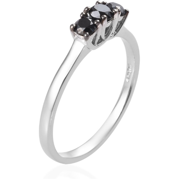 Black Diamond 3-Stone Ring in Platinum over Sterling Silver 0.50ctw Gemstone Collectors U.S.